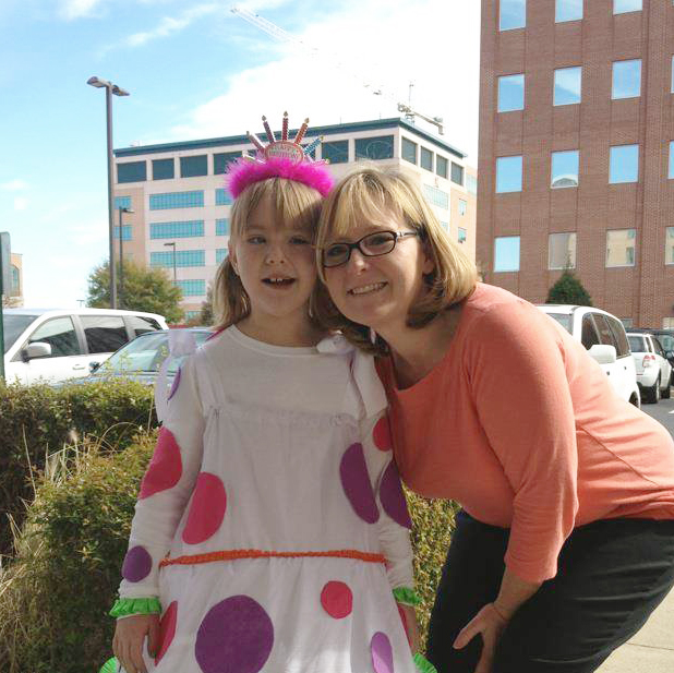Natalie with her mom, while being treated for DIPG