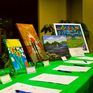 Artwork being auctioned at the Family Trivia Night and Silent Art Auction